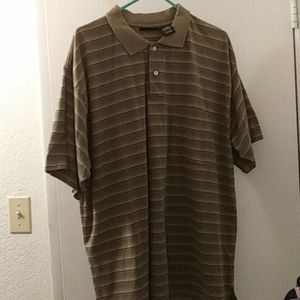 Puritan men's olive green striped polo shirt-2XLT